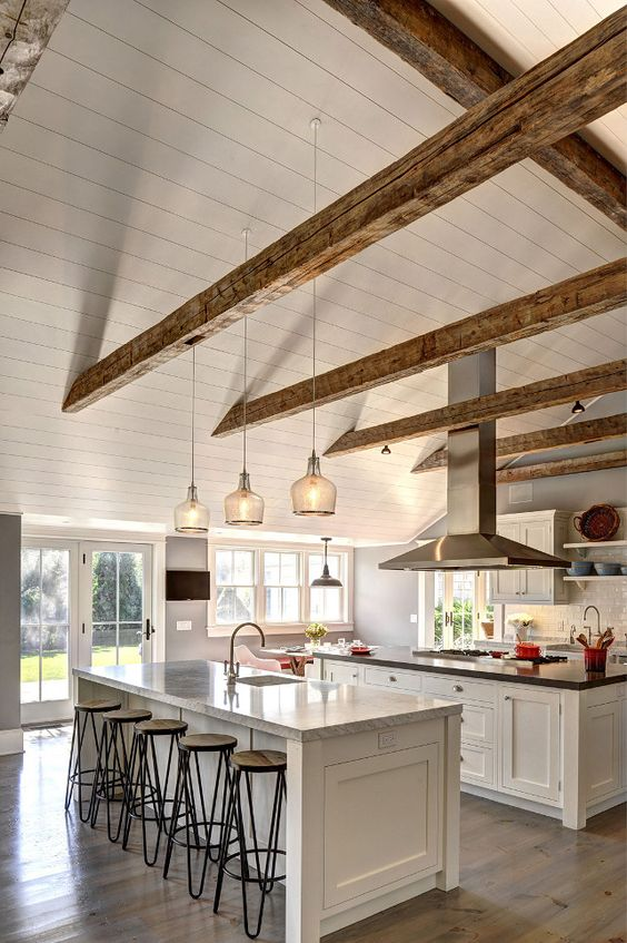 wooden frame beach chairs bedroom chair pinterest 42 kitchens with vaulted ceilings - home stratosphere
