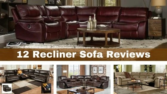 collage image of reclining sectional sofas
