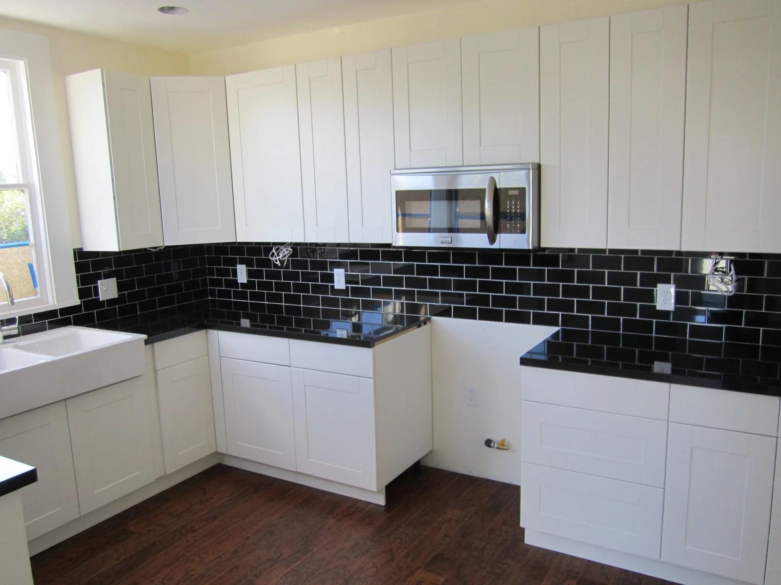 black and white tile kitchen tall round table 75 backsplash ideas for 2019 glass metal etc