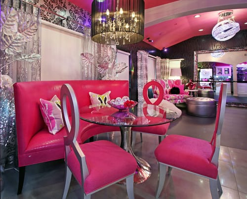 pink dining room chairs with ottomans for bedrooms 20 ideas 2019 eclectic style round glass table and a chandelier