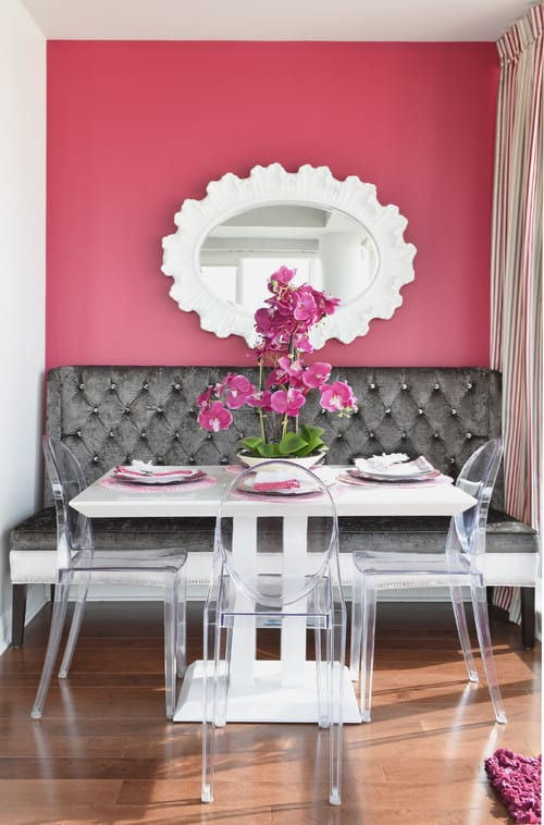 pink living room set color schemes with grey couch 20 dining ideas for 2019 transitional a rectangle table and hardwood floors