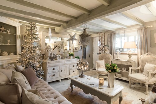 shabby chic living rooms pictures white curtains room 20 cool style ideas for 2019 with beam ceiling pendant lighting sofa and arm chairs