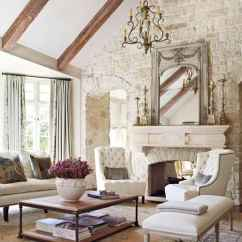Formal Living Room With Brick Fireplace Images Of Most Beautiful Rooms 20 Cool Shabby Chic Style Ideas For 2019 Cathedral Beam Ceiling Arched Doorway Stone Wall