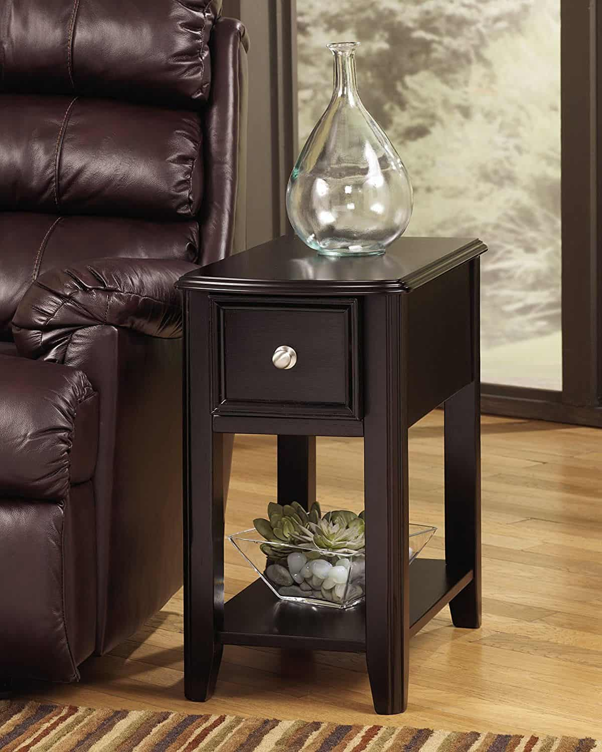 small side tables for living room ashley furniture chairs 14 terrific table options your 2019 signature design breegin rectangular chair end with nickel tone hardware and