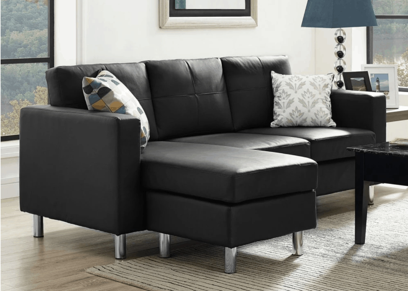 sofas for small es plush sofa cover 75 modern sectional spaces 2019 space saving black