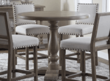 Pub style dining room table with bar stools