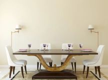 Custom modern pedestal base dining room table.