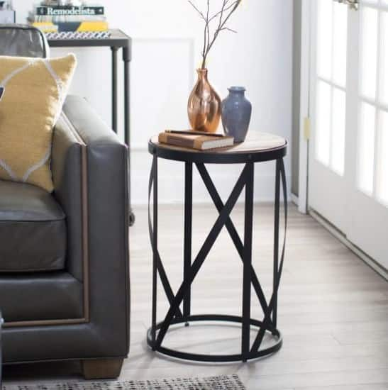 side tables living room paint colors with brown couch 14 terrific small table options for your 2019 belham allen reclaimed wood drum
