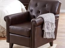 Brown leather club chair.