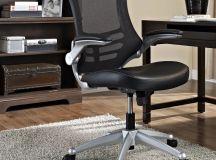 High-back mesh desk chair.