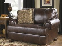 Dark brown leather chair.