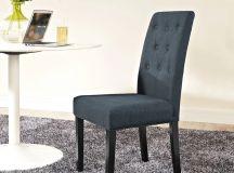 Dark gray side chair.