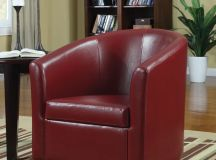 Faux leather red swivel chair.