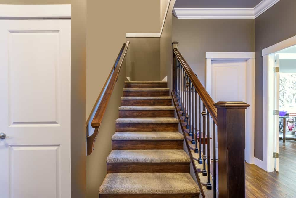 25 Types Of Staircases Custom Diagram For Each Style | Two Tone Wood Stairs | Timber | Partially Carpeted | White Back | Diy | Rug