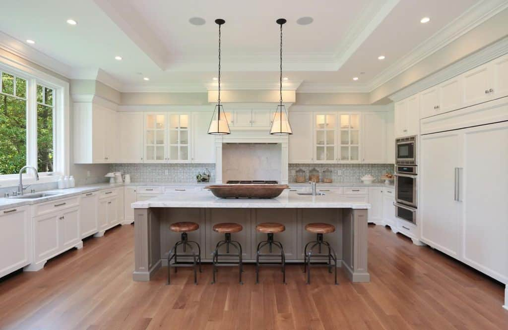 kitchen ceilings white backsplash 140 kitchens with tray for 2019 pure ceiling and laminated flooring together marble countertop multiple cabinets
