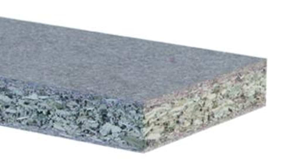 Moisture-resistant particle board keeps the board from swelling and warping in wet areas.