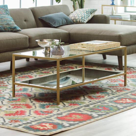 Gold coffee table with steel frame.