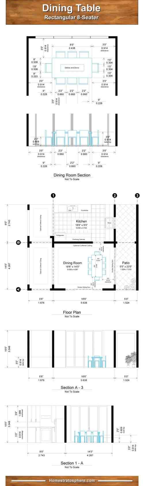 small resolution of chart diagram setting out dining room table and dimensions for 8 people