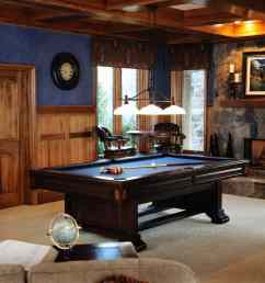 gorgeous pool table room with fireplace in rustic style  [ 1256 x 835 Pixel ]