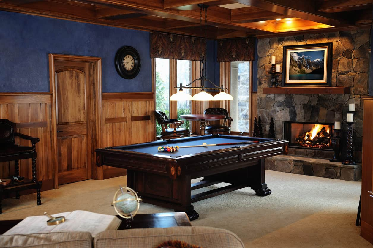 hight resolution of gorgeous pool table room with fireplace in rustic style