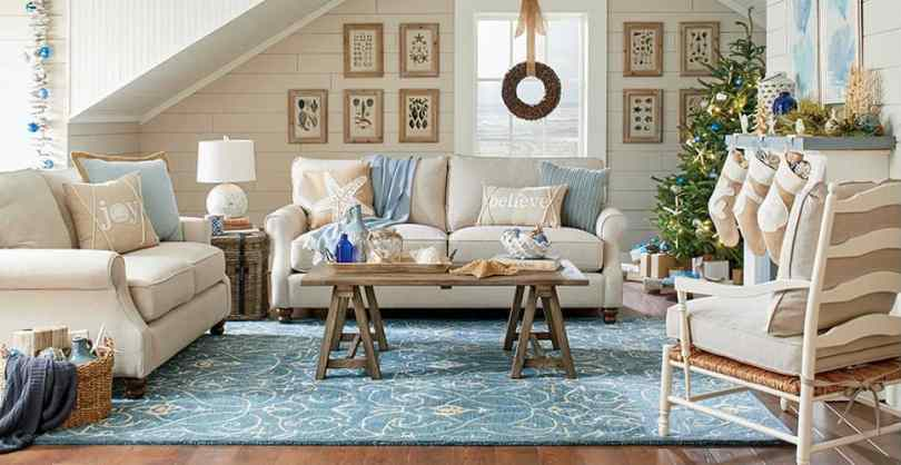 Beige and blue family room.