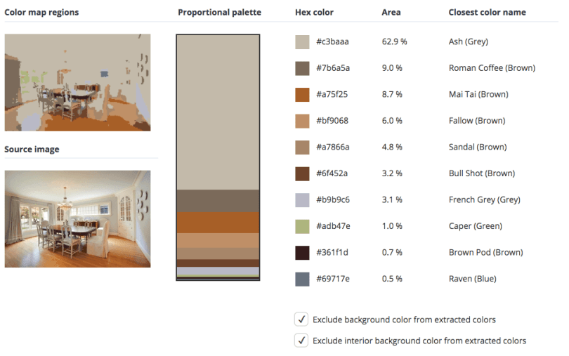 Beige combined with blue, brown and a touch of grey and green.