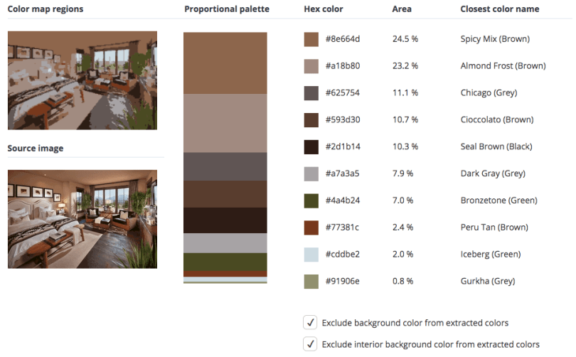 Beige combined with brown, grey, black and green.
