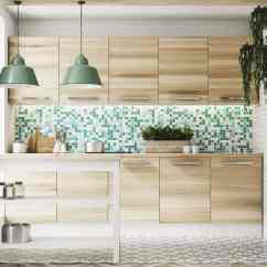 Kitchen Backsplashes Storage Hutch 21 Different Types Of Modern With Light Wooden Flat Cabinetry Green And White Tile Mosaic Backsplash
