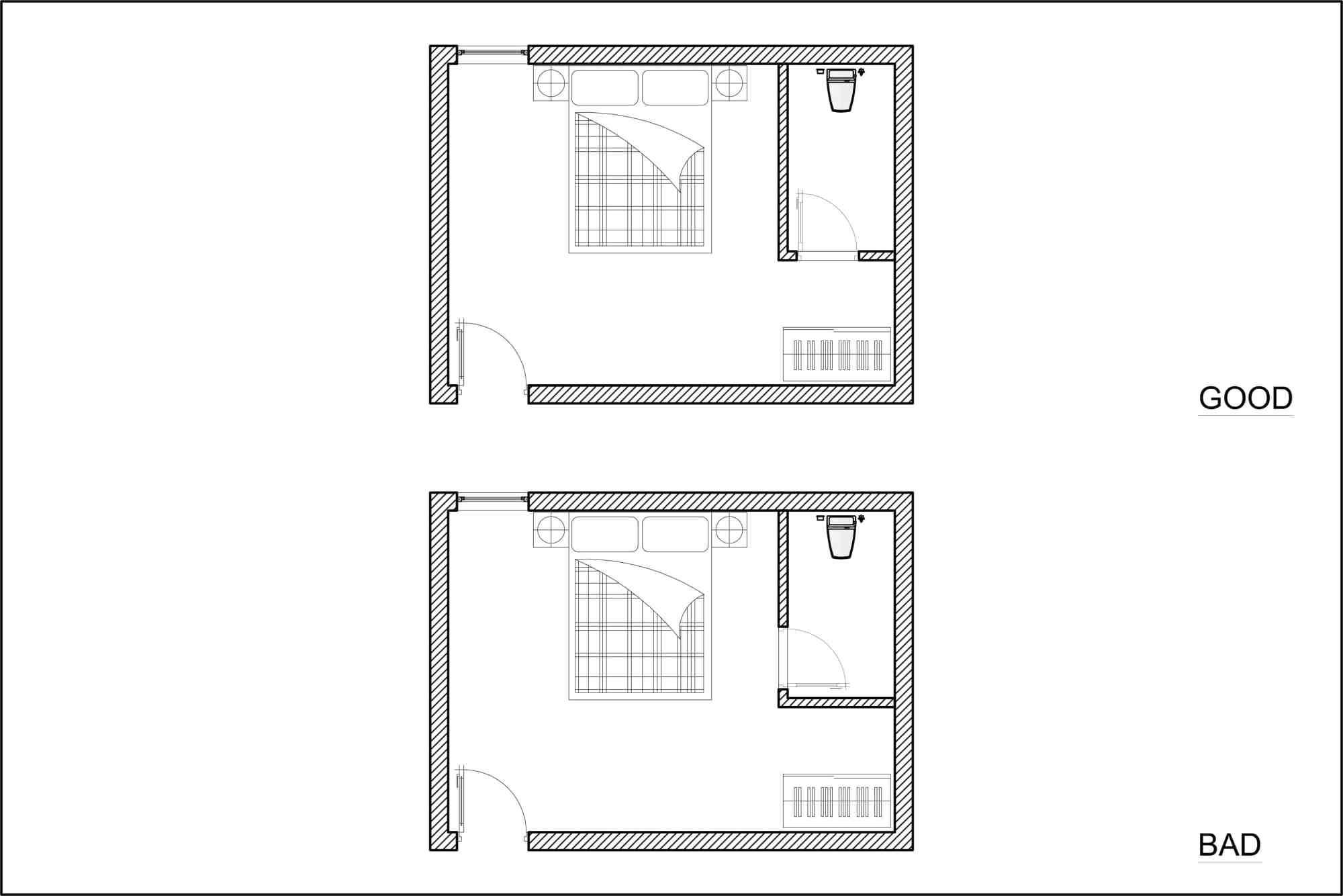 hight resolution of diagram of good and bad bedroom en suite door location