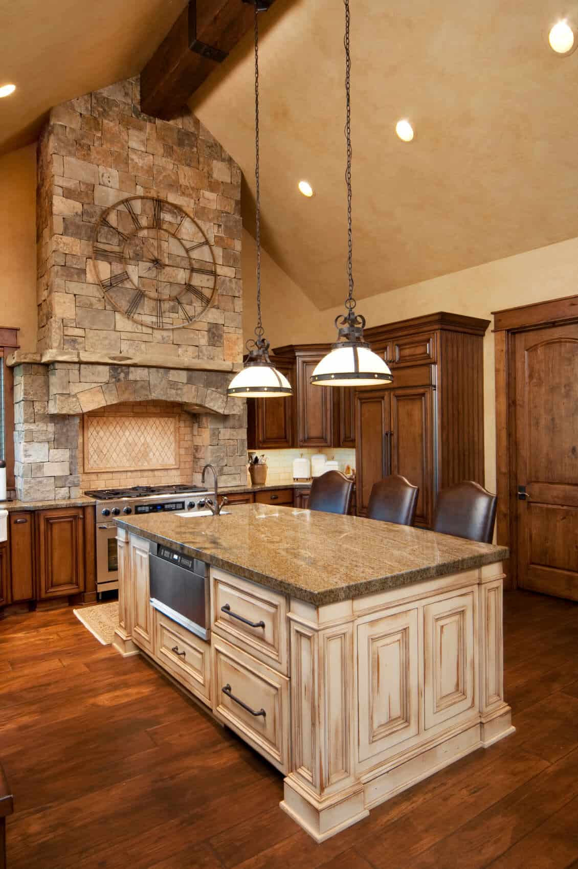 oak kitchen islands kwc faucet 90 different island ideas and designs photos rich natural wood holds this large contrasting light at center