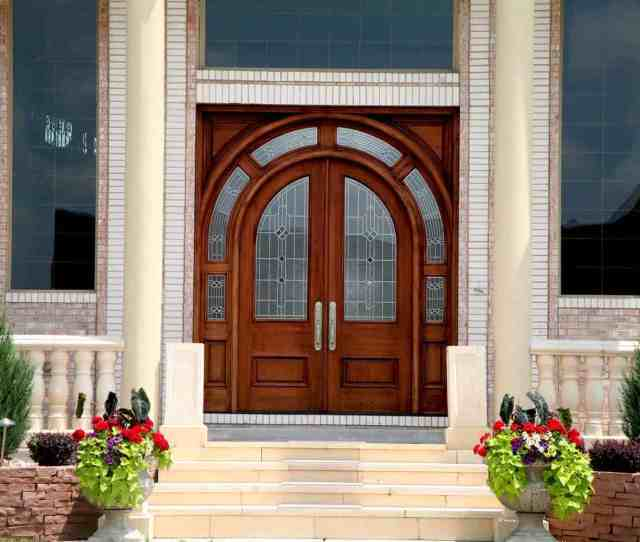 Double Wood Front Entry Door In Arch Shape With Windows