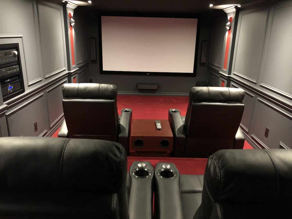 hight resolution of cool small home theater built by homeowner includes 4 large theater seats with beverage storage