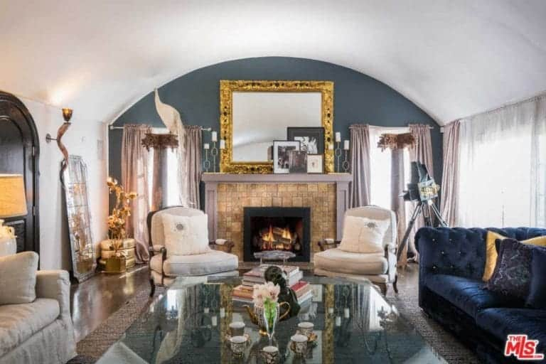 mediterranean living room better homes and gardens paint colors 100 ideas for 2019 another view at the formal s center table elegant seats fireplace