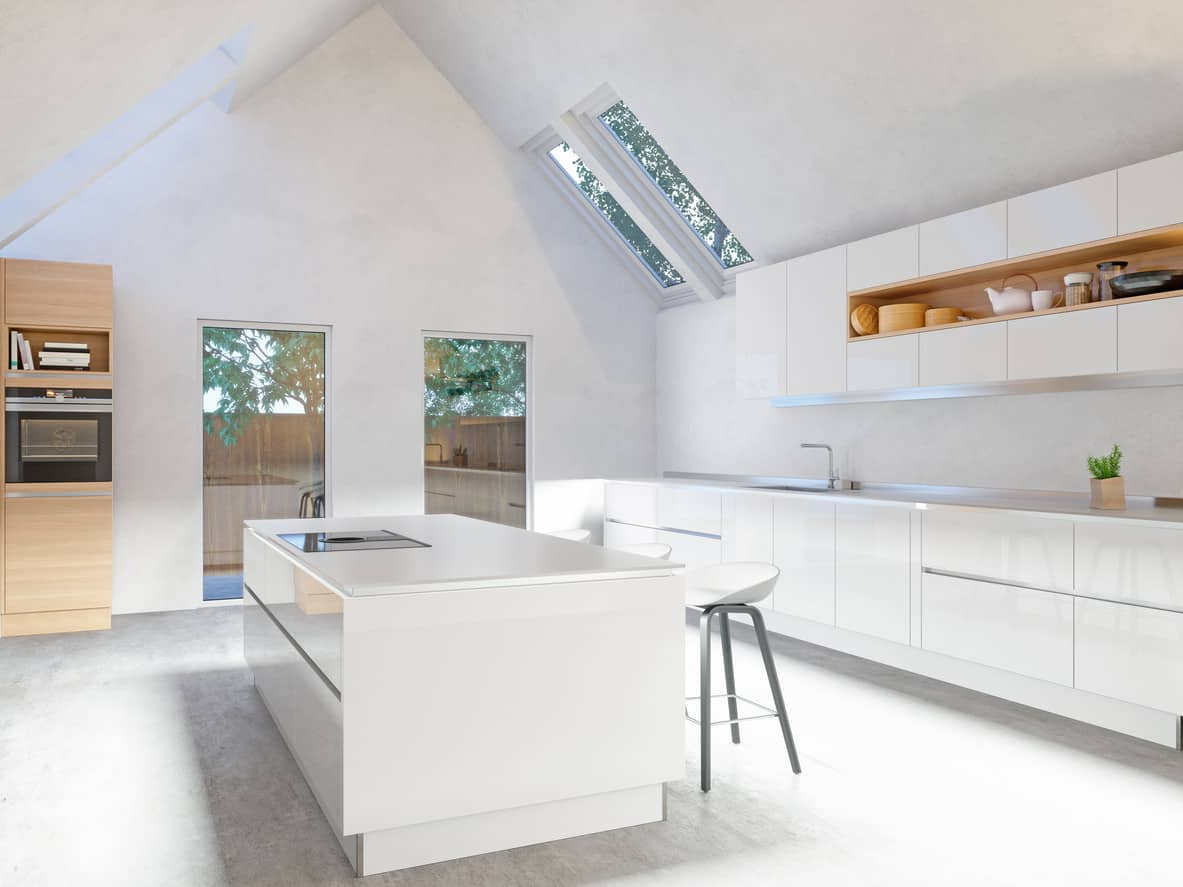 modern kitchen images buffet table 39 design ideas photos minimalist all white with smooth surface cabinetry the cathedral ceiling nicely opens up