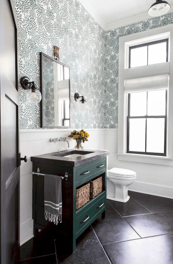 Farmhouse Powder Room With Green Vanity And Wallpaper By Chango