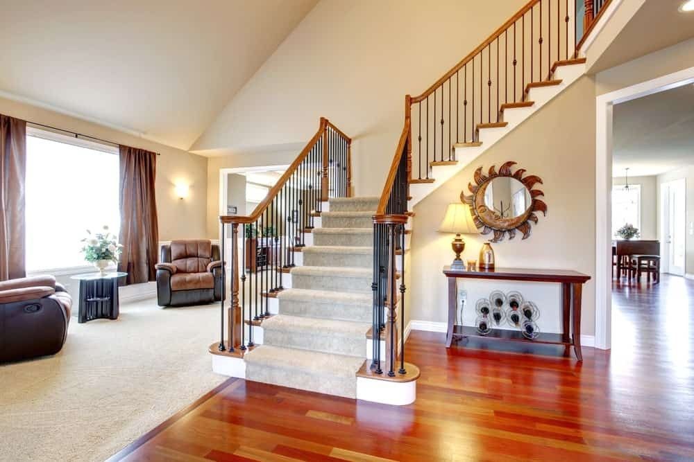70 Staircases With Carpet Floors Photos | Carpet For Bedrooms And Stairs | Modern Staircase | Staircase Remodel | Dark Grey Carpet | Stair Railing | Stair Treads