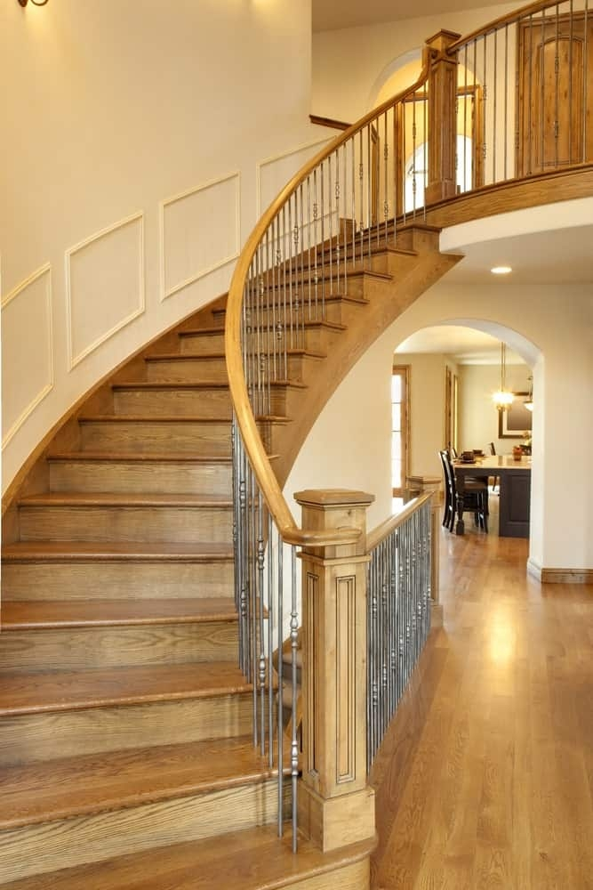 40 Curved Staircase Ideas Photos   Round Staircase Designs Interior   Classic   Wooden   Elegant   Showroom   Round Shape Round