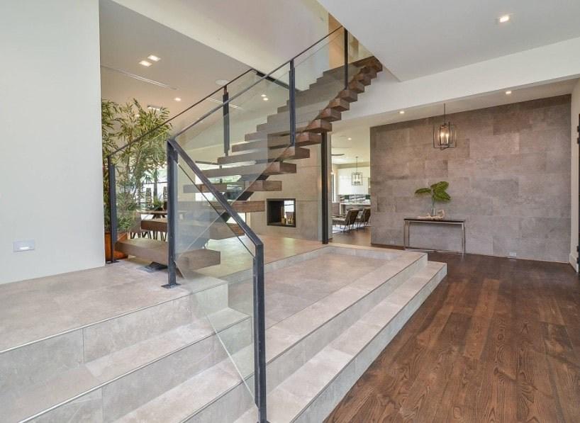 101 Staircase Design Ideas Photos | Modern Staircase Glass Railing Designs | Commercial Building | Glass Panel Wooden Handrail | Side Glass Rail | Glass Stair | Modern Aluminium