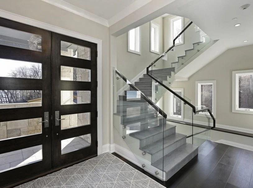 101 Staircase Design Ideas Photos | Glass And Chrome Staircase | Fusion | Black Stained | Frameless | Timber Glass | Glass Paneled