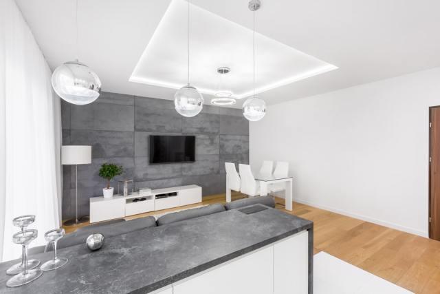 Asma tavanlı modern oturma odası.