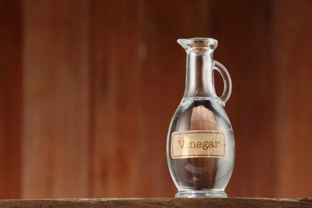 Bir mantarla kapatılmış bir cam şişe sirke.
