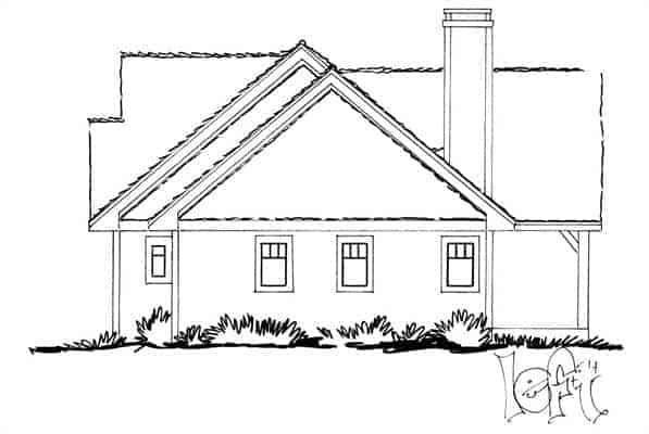 3 yatak odalı tek katlı The Cherokee kabin evinin soldan görünüşü.