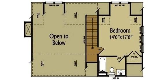 Tam bir banyosu ve dolabı olan bir yatak odası ile ikinci kat planı.