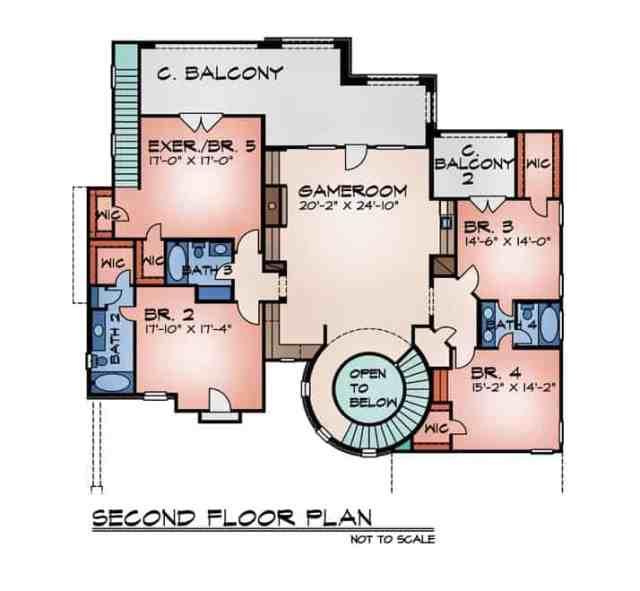 Dört yatak odası ve kapalı balkona açılan büyük bir oyun odası içeren ikinci kat planı.