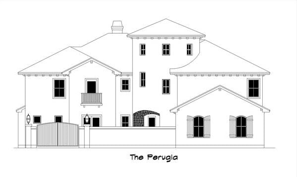 İki katlı 5 yatak odalı The Perugia İspanyol evinin ön cephe çizimi.