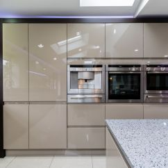 Design A Kitchen Layout Best Appliances Brand Handleless Painted Gloss Taupe » Homestyle Kitchens