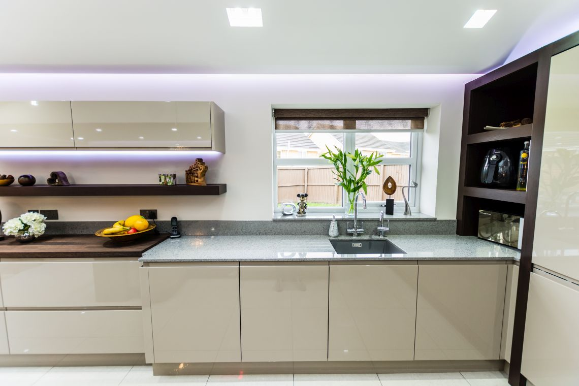 Handleless Painted Gloss Taupe  Homestyle Kitchens