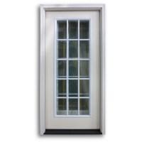 Pre-Hung 15 Lite Fiberglass Exterior Door - Primed White ...