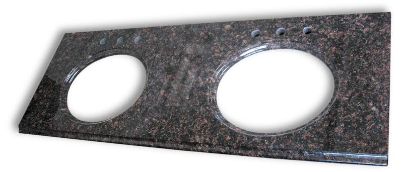 granite vanity top 73wide 22deep tan brown double sink cut outs