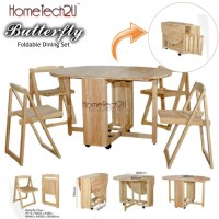 Butterfly Wooden Foldable Dining Table And 4 Folding ...